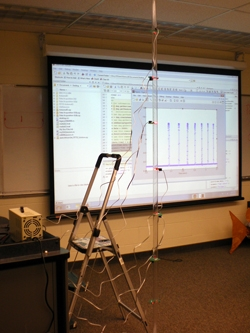 Figure 5. DAQ setup for measuring the velocity of a dropped ball using MATLAB and Data Acquisition Toolbox.