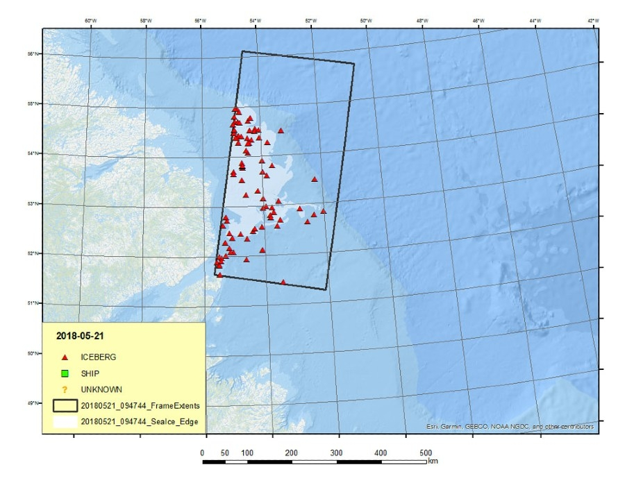 Figure 5. Iceberg locations plotted on a map.