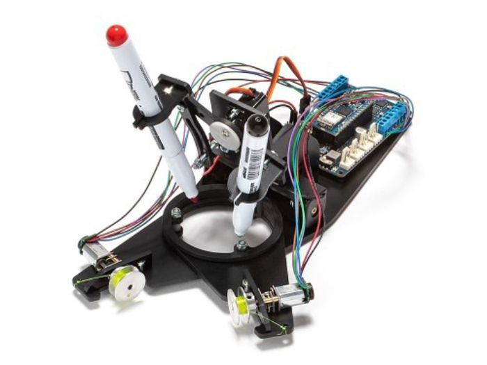 Figure 2. A drawing robot, one of the three projects that can be built with the Arduino Engineering Kit.
