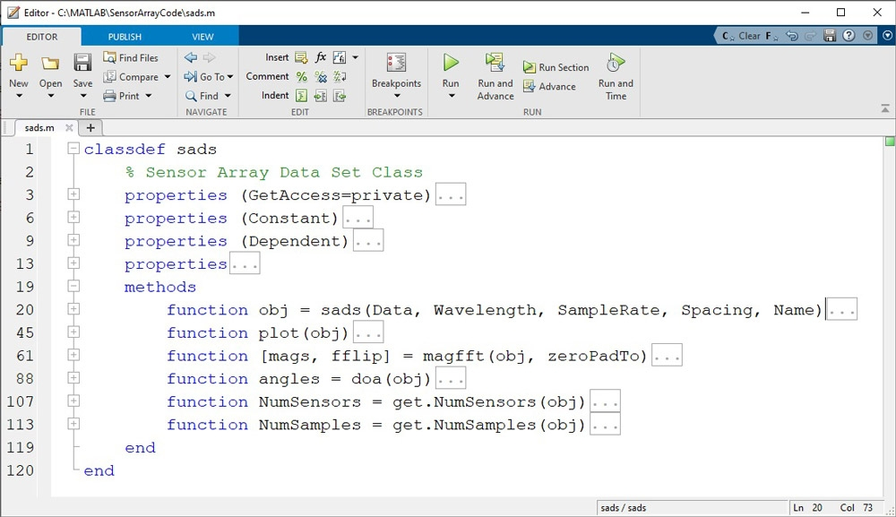 Figure 4. Class definition file sads.m with methods, displayed in the MATLAB editor. For ease of viewing, the code-folding feature is used to hide much of the code.