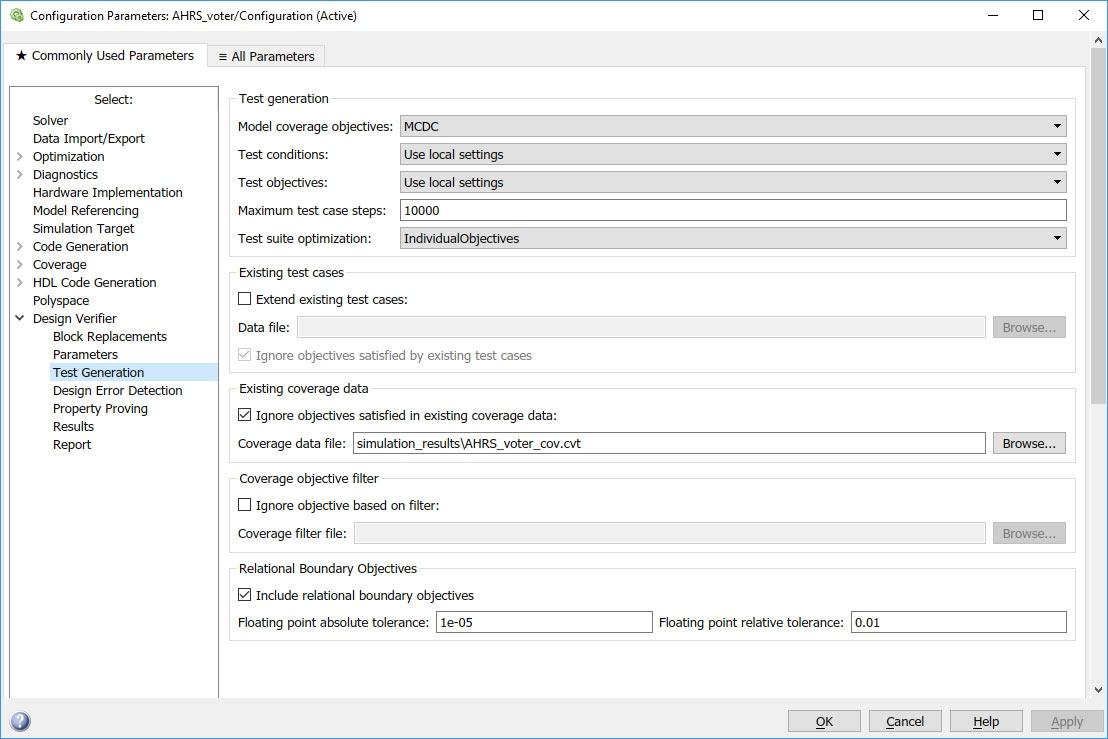Figure 8. Simulink Design Verifier test generation options.