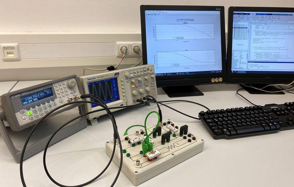 Figure 2. Lab setup with signal generator and oscilloscope.