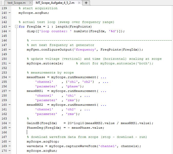 Figure 3. Sample object-oriented programming script for configuring test routines.