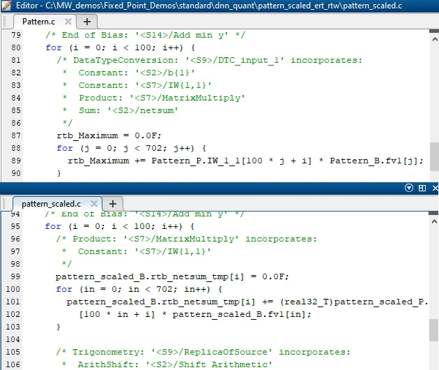 Figure 7. Top: Generated code for single precision. Bottom: Scaled version.