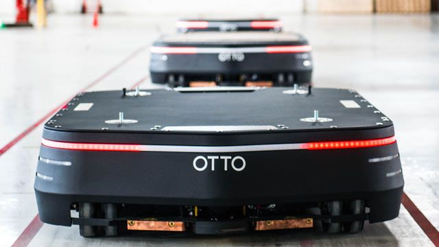 OTTO 1500 self-driving vehicles for materials transport.