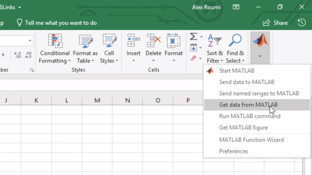 Exchange data between MATLAB and Microsoft Excel in three different ways, using Spreadsheet Link.