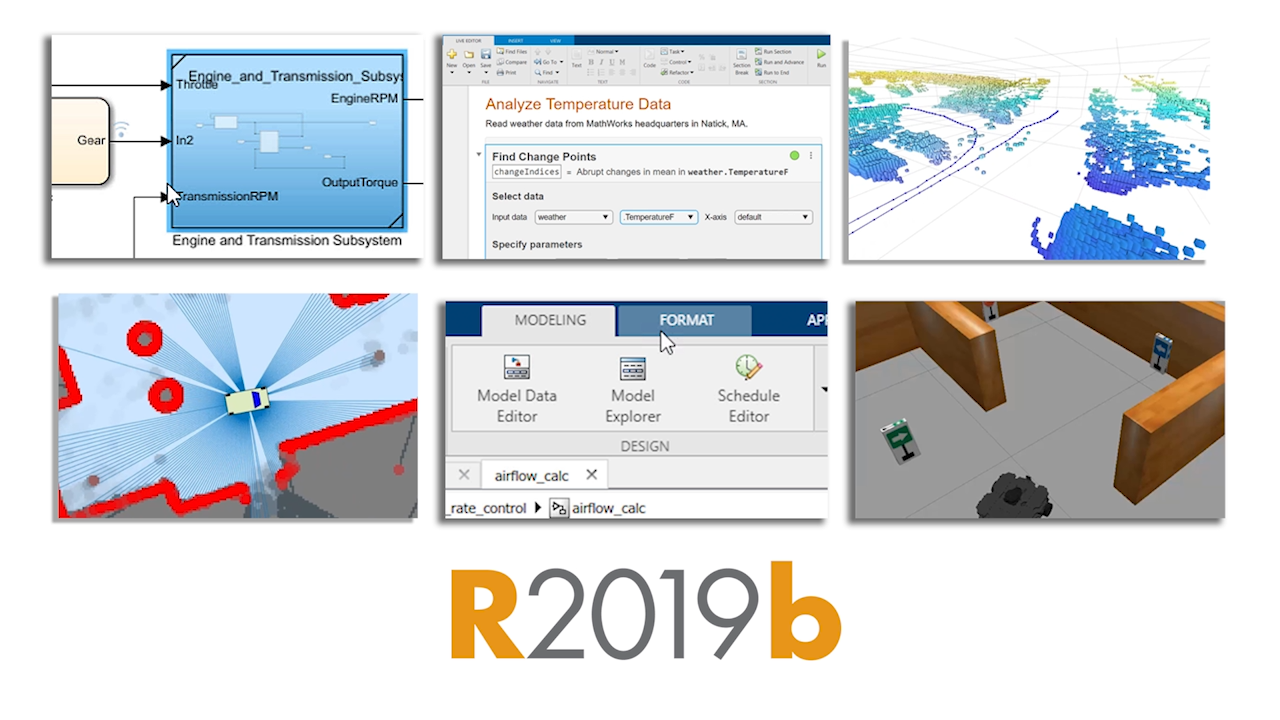 Release 2019b offers hundreds of new and updated features and functions in MATLAB and Simulink,  along with two new products.