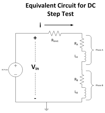 Figure 5. Equivalent electrical circuit for DC step test.