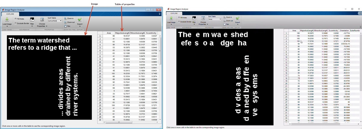 Extracting statistical data (left) and filtering images based on region properties (right) using the Image Region Analyzer app.