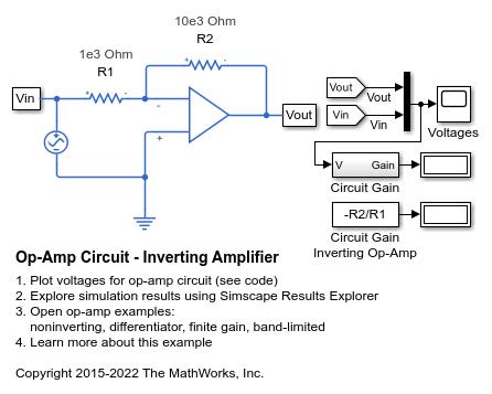 Op Amp Circuit Inverting Amplifier Matlab Simulink