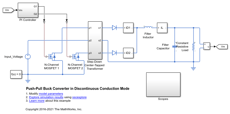 Push-Pull Buck Converter in Discontinuous Conduction Mode