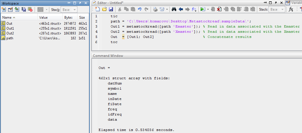 how to read mat file in matlab code