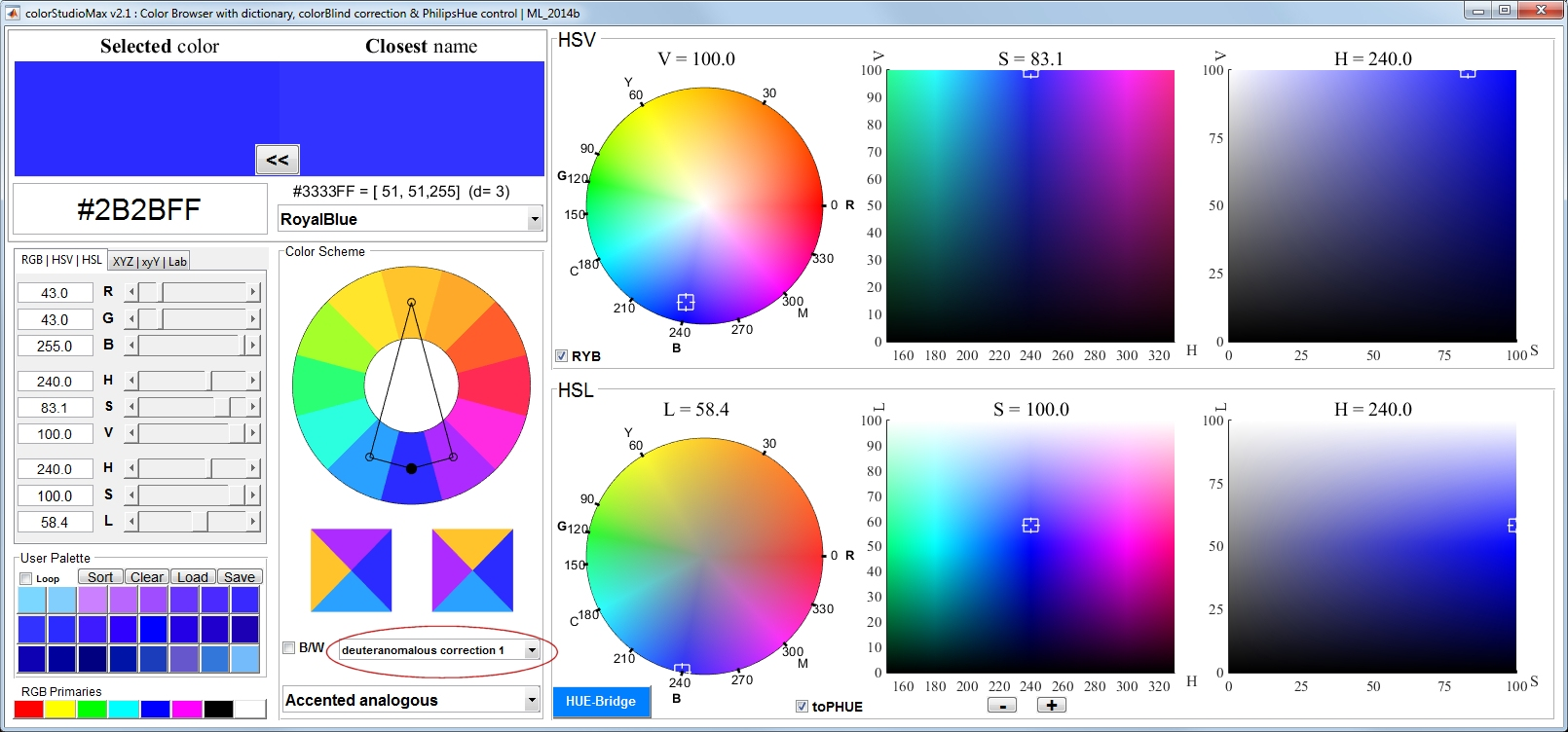 colorStudioMax : Color Browser with dictionary, colorBlind