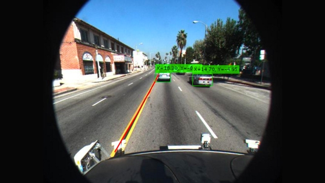 Detecting vehicles and lanes in the visual perception system reference application.