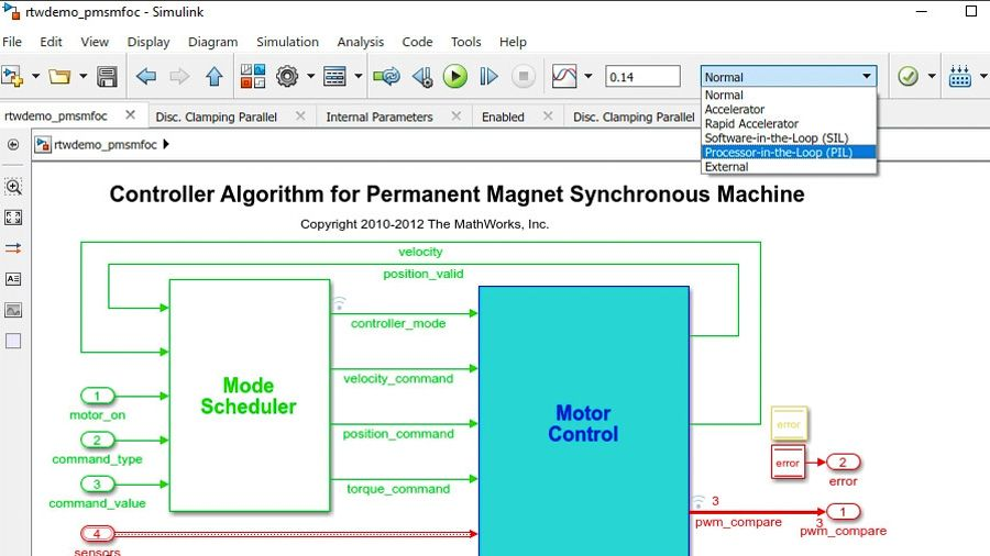 Performing software-in-the-loop (SIL) and processor-in-the-loop (PIL) testing of code generated by Embedded Coder.