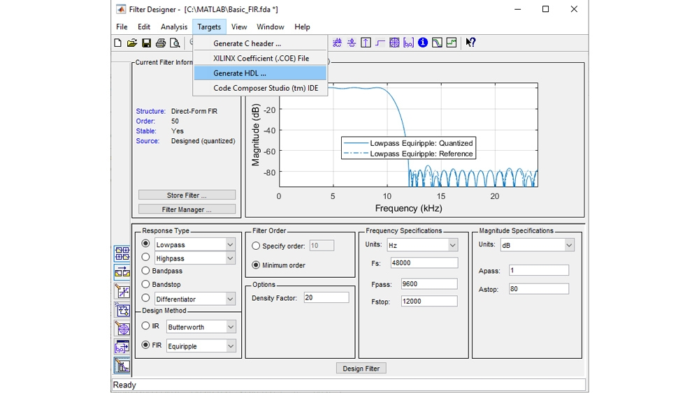Configure and quantize a filter, then launch the HDL code generation UI to generate synthesizable VHDL or Verilog code.