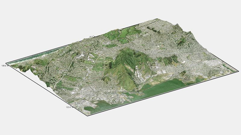 A composite 3D map of San Francisco created with functions in Mapping Toolbox.