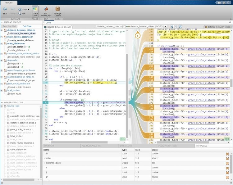 Interactive traceability report using MATLAB Coder with Embedded Coder.