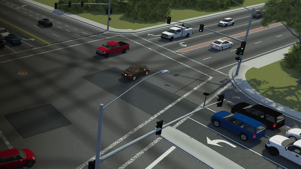 Design 3D scenes for simulating and testing automated driving systems with RoadRunner.