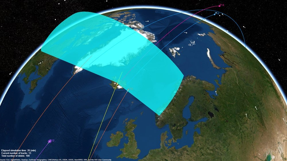 Radar system tracking space debris orbiting the earth.