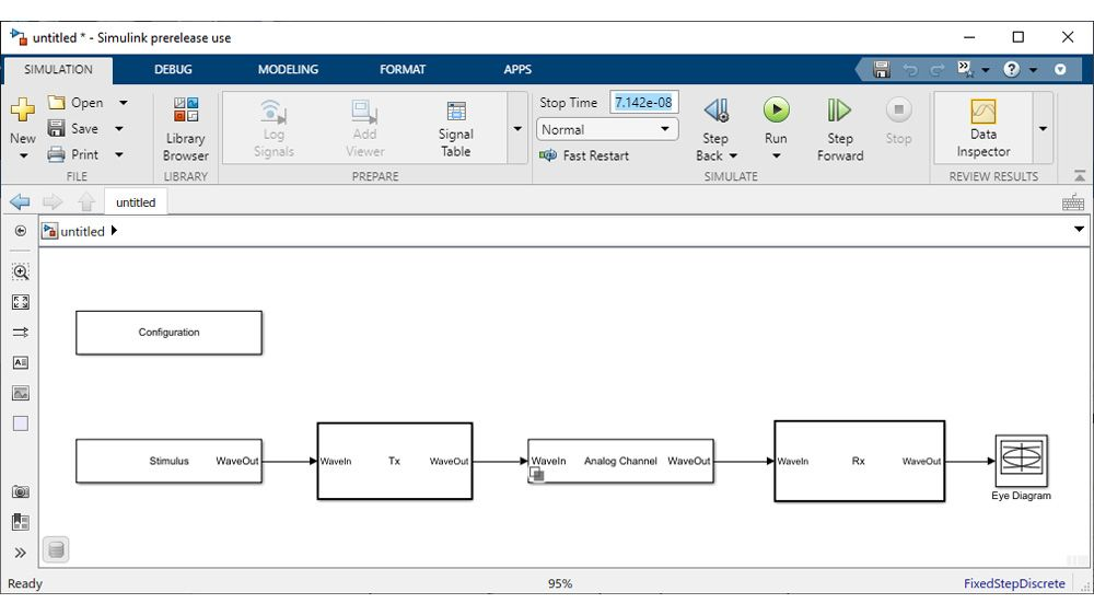 Simulink model generated with the SerDes Designer app for time-domain simulation.