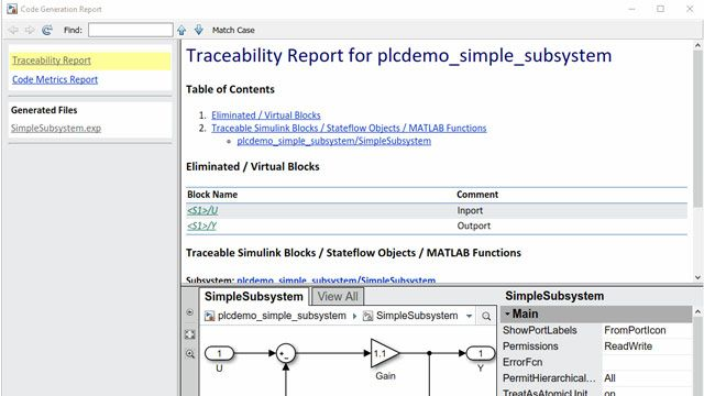 Code generation and traceability reports enable you to navigate and trace between Simulink model components and the generated code.