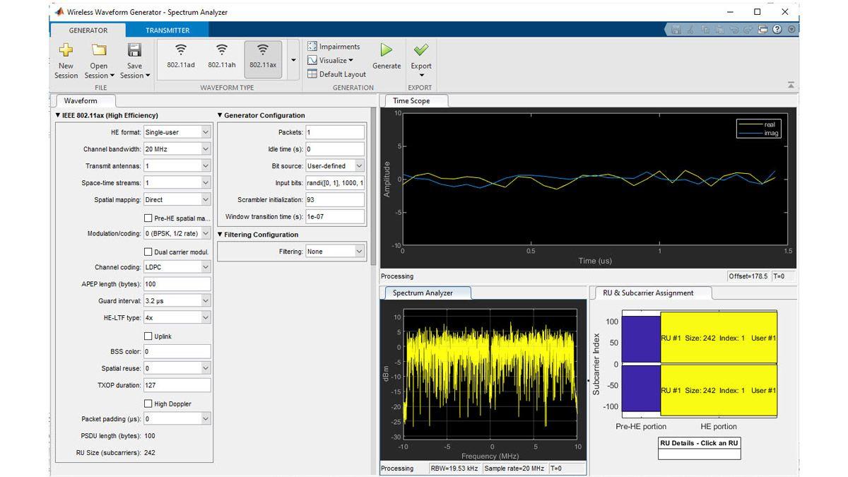802.11ax waveform generation using the Wireless Waveform Generator app.
