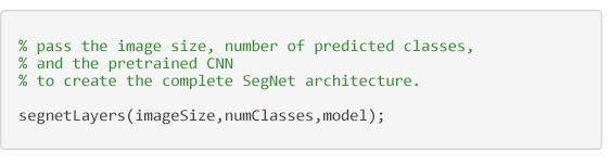 Semantic Segmentation - code to create the SegNet architecture