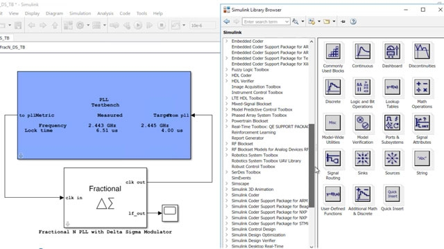 Design and simulate analog and mixed-signal systems such as ADCs and PLLs with Mixed-Signal Blockset.