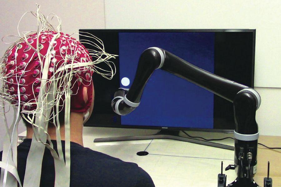 A non-invasive brain-computer interface (BCI). Image credit: Carnegie Mellon University