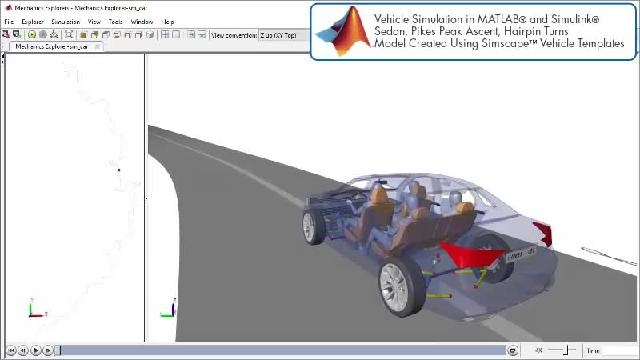 See an animation showing a powertrain design simulation with Simscape.