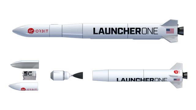 Virgin Orbit's LauncherOne vehicle assembled (top), with exploded view showing the fairing, payload, and first and second stages (bottom).