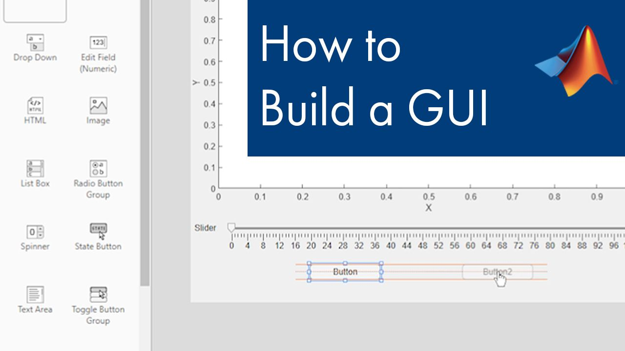 Learn how to build a graphical user interface (GUI) using App Designer in MATLAB.