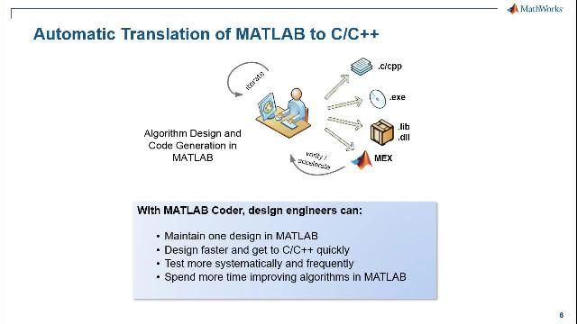 Use MATLAB Coder to generate readable and portable C code from your MATLAB algorithms to integrate into other applications outside MATLAB. Accelerate your MATLAB algorithms within MATLAB by generating MEX files.