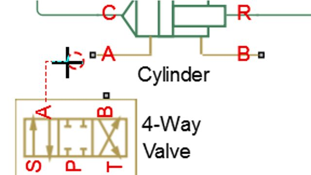 Model a hydraulic actuation system. A double-acting hydraulic cylinder controlled by a four-way directional valve is modeled using Simscape Fluids.