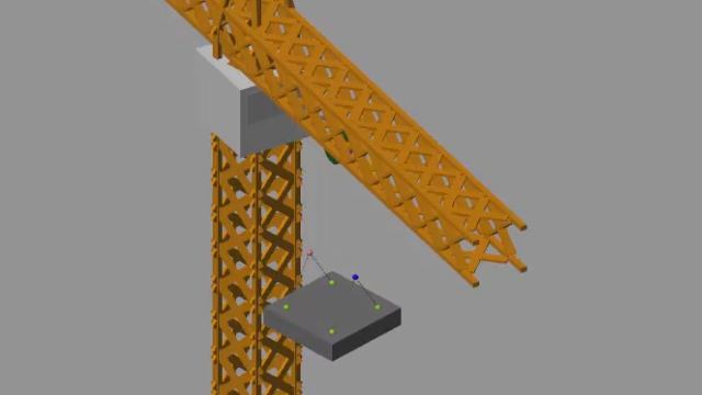 Modeling of crane mechanics for simulating crane duty cycles. Early identification of functional requirements feasibility by evaluating forces and torques in the machine under operating conditions.